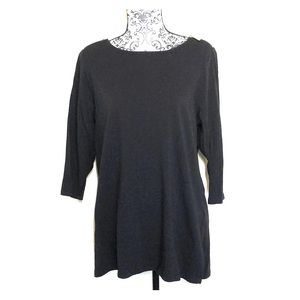 Michael Kors 3/4 sleeve black top w silver zipper